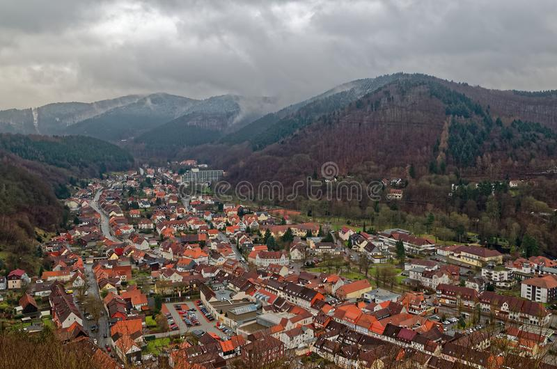 Panoramic view top down onto Bad Lauterberg in Harz mountains region, Germany. Panoramic view top down onto Bad Lauterberg in Harz mountains national park royalty free stock photo