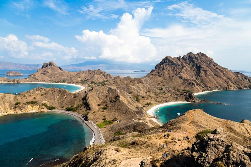 Panoramic view from the top of Padar Island in Komodo National park in autumn, Lubuan Bajo, Indonesia. Panoramic view from the top of Padar Island in Komodo royalty free stock image