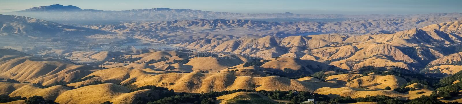 Panoramic view towards Mount Diablo at sunset from the summit of Mission Peak royalty free stock photo