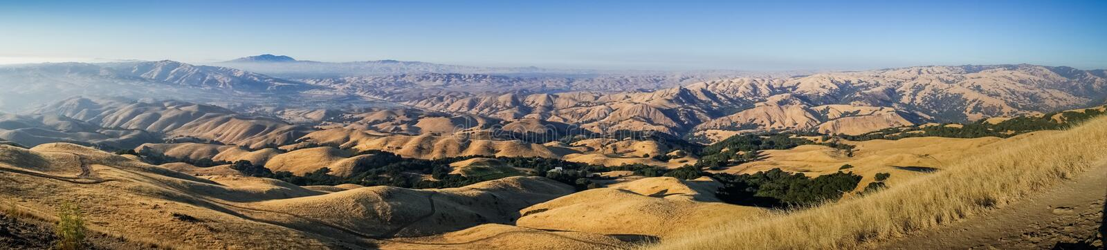 Panoramic view towards Mount Diablo at sunset from the summit of Mission Peak stock images