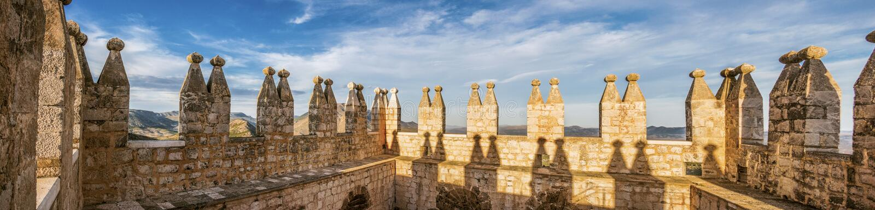 Panoramic view of Medieval Castle`s Tower. Panoramic view of the Tower at the Medieval Castle of Velez Blanco Spain stock photos