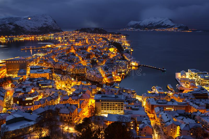 Panoramic view of the town of Alesund at sunset from Aksla hill. royalty free stock photos
