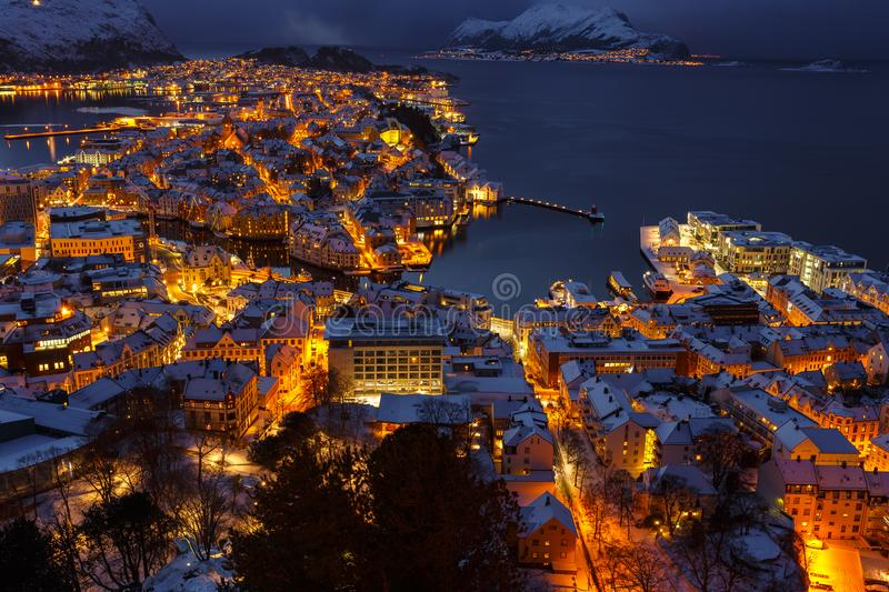 Panoramic view of the town of Alesund at sunset from Aksla hill. stock photography