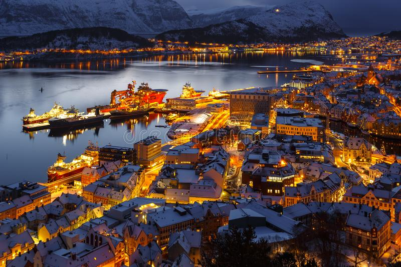 Panoramic view of the town of Alesund at sunset from Aksla hill. stock photo