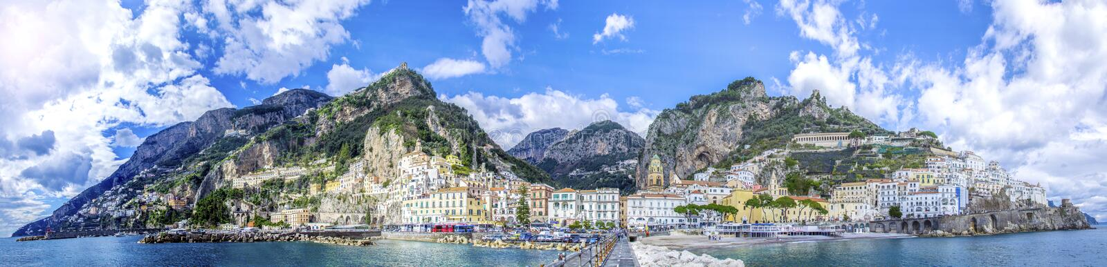 Panoramic view of the town of Amalfi on coast in Italy stock photo