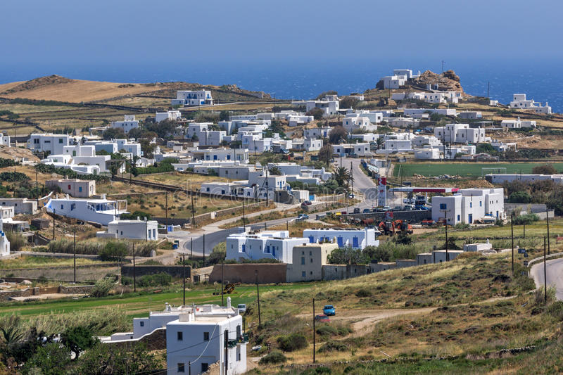Panoramic view of Town of Ano Mera, island of Mykonos, Greece royalty free stock photography