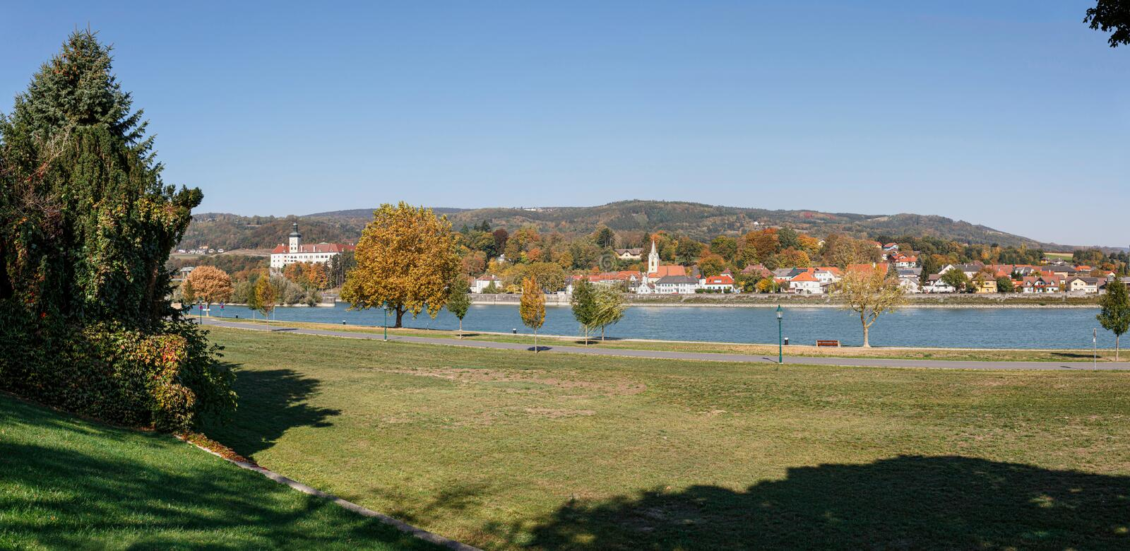 Panoramic view of the town of Persenbeug from the opposite bank of the Danube river. Persenbeug, Lower Austria. stock image