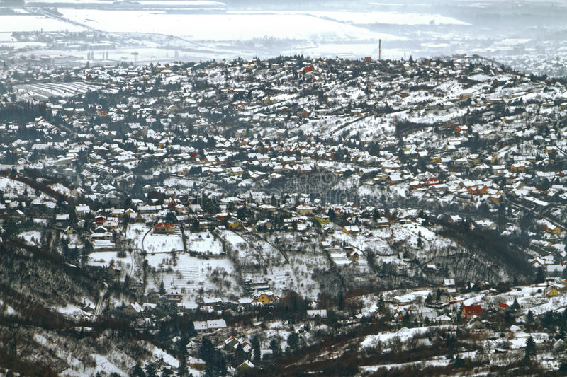 Panoramic view of a town in winter stock photo