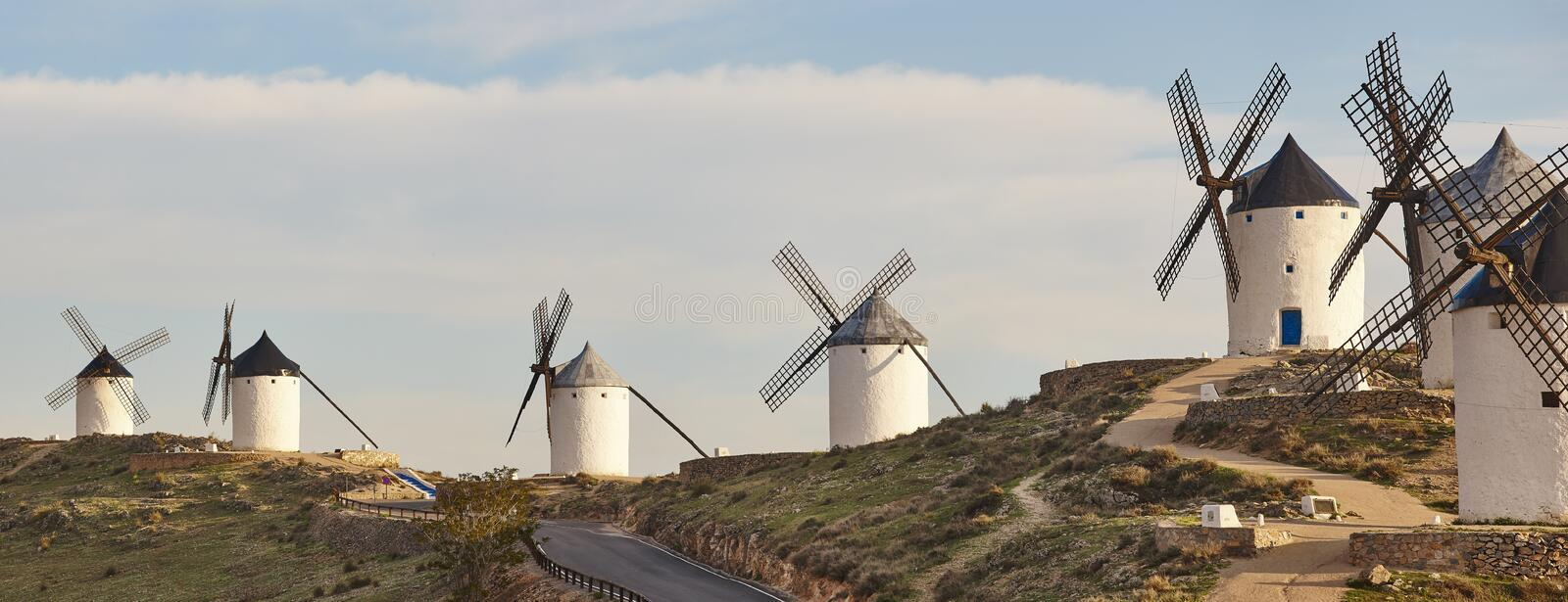 Panoramic view traditional antique windmills in Spain. Consuegra, Toledo. Travel stock photography