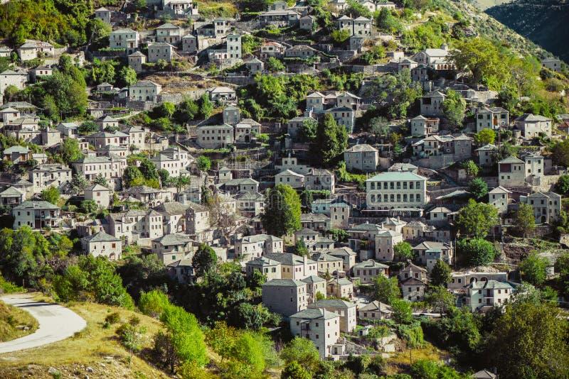 Panoramic view of Traditional Village Syrrako in National Park of Tzoumerka, Greece Epirus region stock photos
