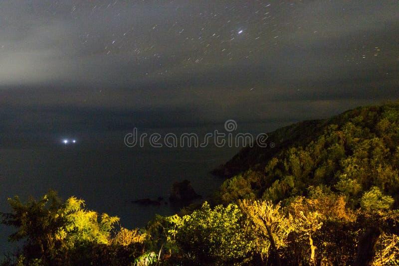 Panoramic view of trails in punta comet, Huatulco Oaxaca , México, nights, stars. Panoramic view of trails in punta comet, Huatulco Oaxaca royalty free stock photos