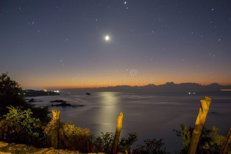 Panoramic view of trails in punta comet, Huatulco Oaxaca , México, nights, stars. Panoramic view of trails in punta comet, Huatulco Oaxaca stock images