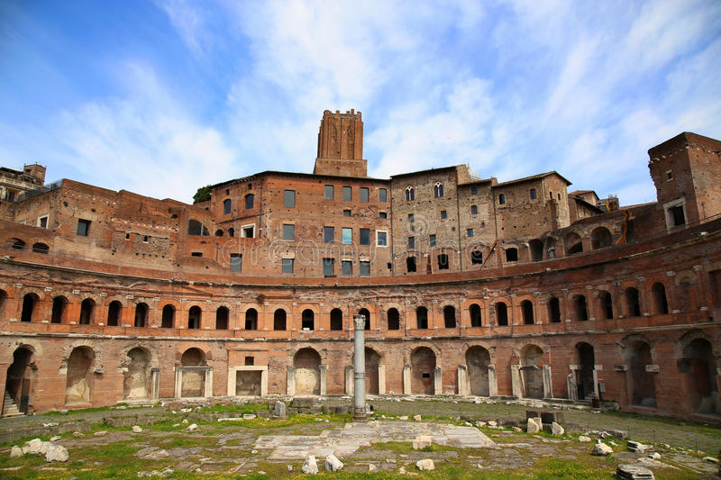 A panoramic view on Trajan's Market (Mercati Traianei) in Rome, stock images