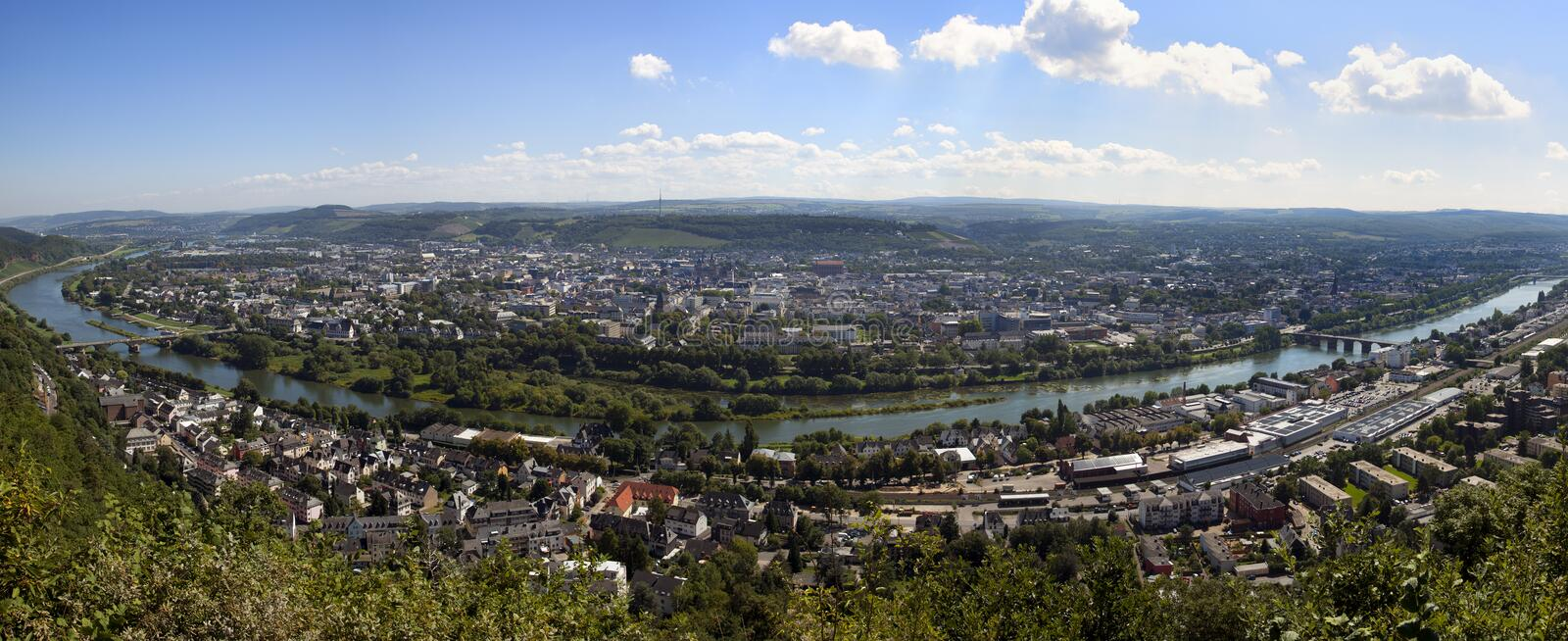 Panoramic view of Trier and the Mosel river royalty free stock photos