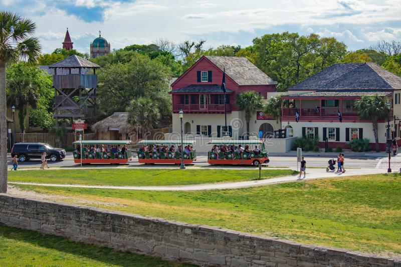 Panoramic view of trolley tour and old town from Castillo de San Marcos Fort in Florida`s Historic Coast 1 royalty free stock photo