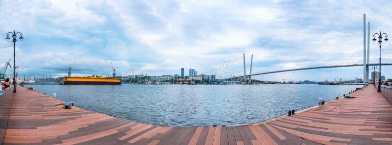 Panoramic view from the Tsesarevich quay of Vladivostok royalty free stock photos