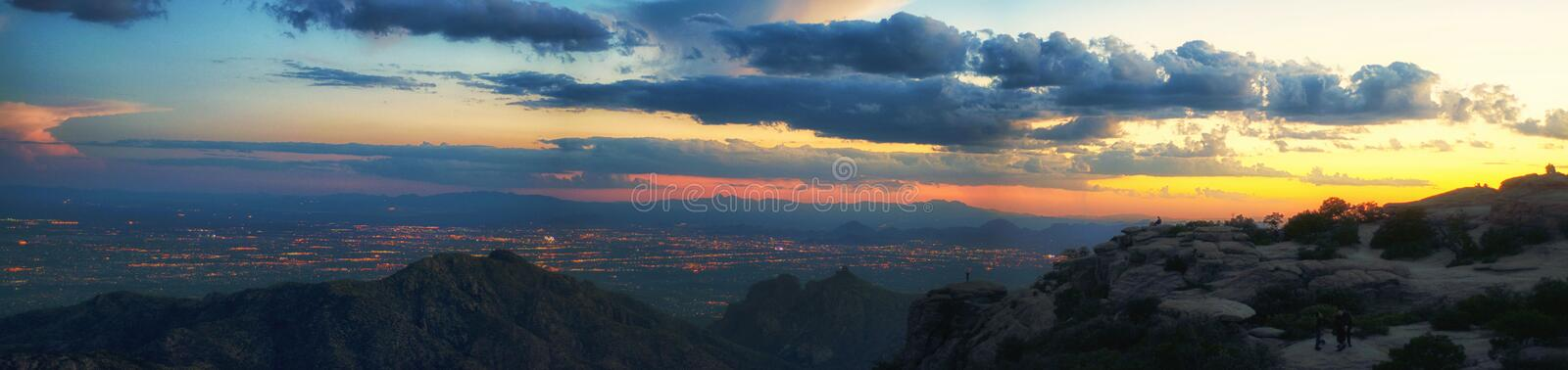 Panoramic view of Tucson at the sunset royalty free stock photos