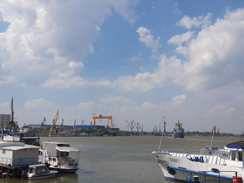Panoramic view of Tulcea Harbor! stock photos