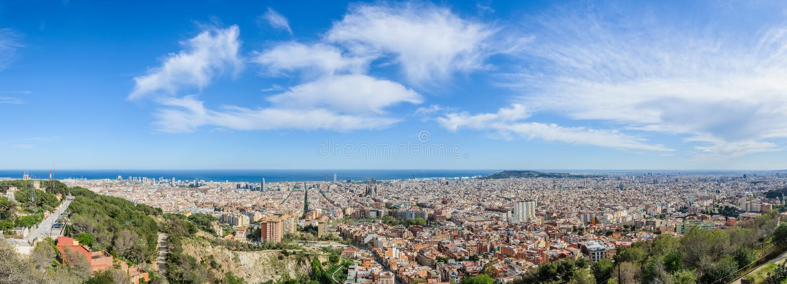 Panoramic view from Turo del Rovira in Barcelona, Spain. Birdeye view of the city from the hill of Turo del Rovira in Barcelona, Catalonia, Spain royalty free stock photography
