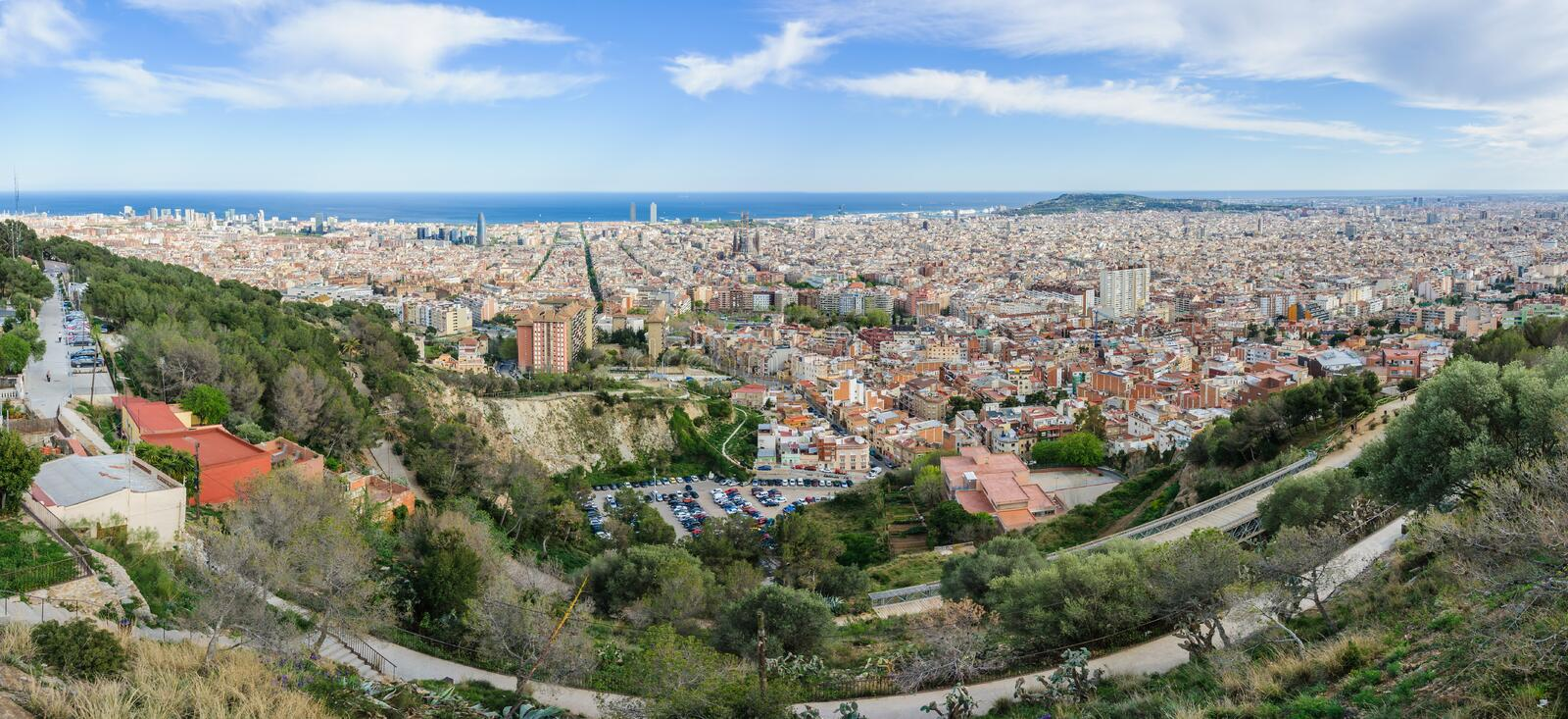 Panoramic view from Turo del Rovira in Barcelona, Spain. The skyline of the city from the hill of Turo del Rovira in Barcelona, Catalonia, Spain stock photography