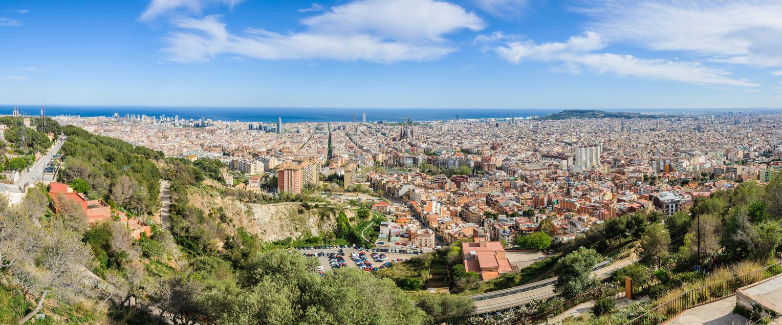 Panoramic view from Turo del Rovira in Barcelona, Spain. The skyline of Barcelona from the hill of Turo del Rovira in Barcelona, Catalonia, Spain royalty free stock image