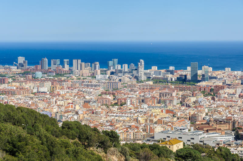 Panoramic view from Turo del Rovira in Barcelona, Spain. The skyline of Barcelona from the hill of Turo del Rovira in Barcelona, Catalonia, Spain royalty free stock photography