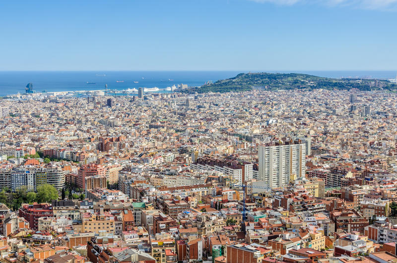 Panoramic view from Turo del Rovira in Barcelona, Spain. The skyline of Barcelona from the hill of Turo del Rovira in Barcelona, Catalonia, Spain stock photos