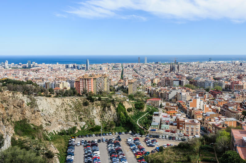 Panoramic view from Turo del Rovira in Barcelona, Spain. The skyline of Barcelona from the hill of Turo del Rovira in Barcelona, Catalonia, Spain royalty free stock photos