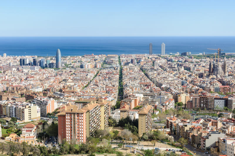 Panoramic view from Turo del Rovira in Barcelona, Spain. The skyline of Barcelona from the hill of Turo del Rovira in Barcelona, Catalonia, Spain royalty free stock photo