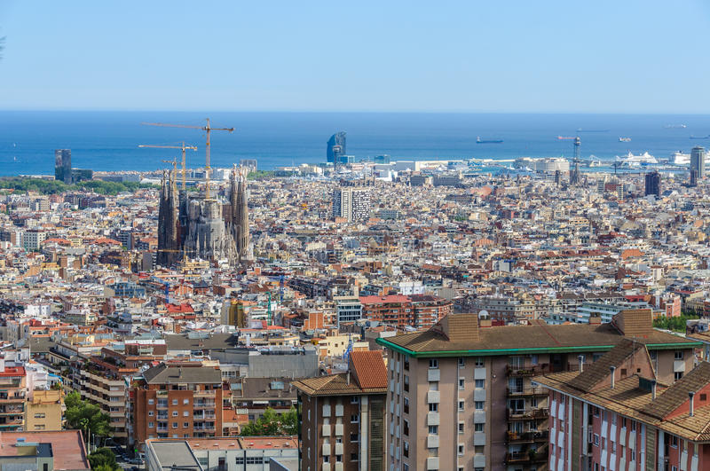 Panoramic view from Turo del Rovira in Barcelona, Spain. The skyline of Barcelona from the hill of Turo del Rovira in Barcelona, Catalonia, Spain stock image