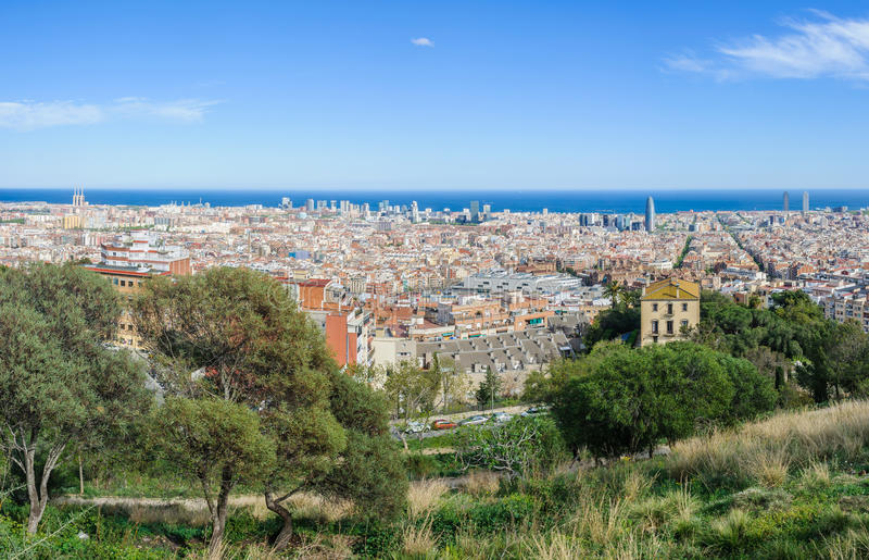 Panoramic view from Turo del Rovira in Barcelona, Spain. The skyline of Barcelona from the hill of Guinardo Park Rovira in Barcelona, Catalonia, Spain stock photography