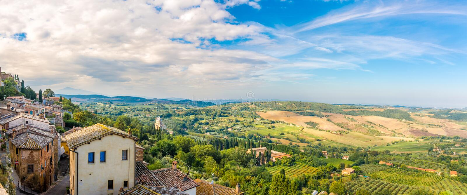 Panoramic view at the Tuscany nature from Montepulciano - Italy. Panoramic view at the Tuscany nature from Montepulciano, Italy royalty free stock photography