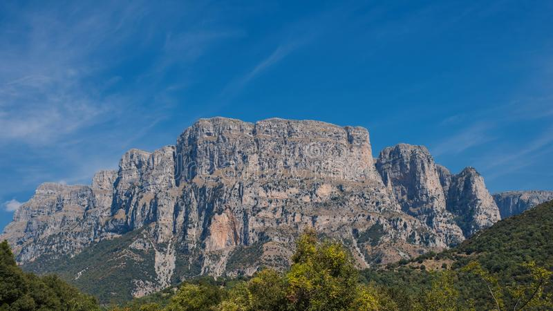 Panoramic view of Tymfi Mountain and Vikos gorge. Zagoria area, Epirus region, northwestern Greece. stock photo