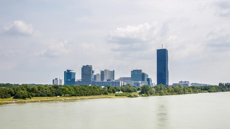 Panoramic view of UNO city in Vienna, Austria stock photography