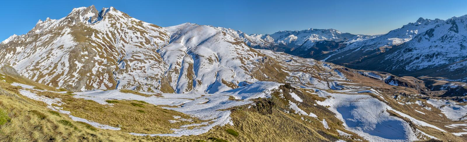 Panoramic view of upper Tena Valley in Spanish Pyrenees from eastern slopes close to Portalet mountain pass. Aragon, Huesca royalty free stock photography