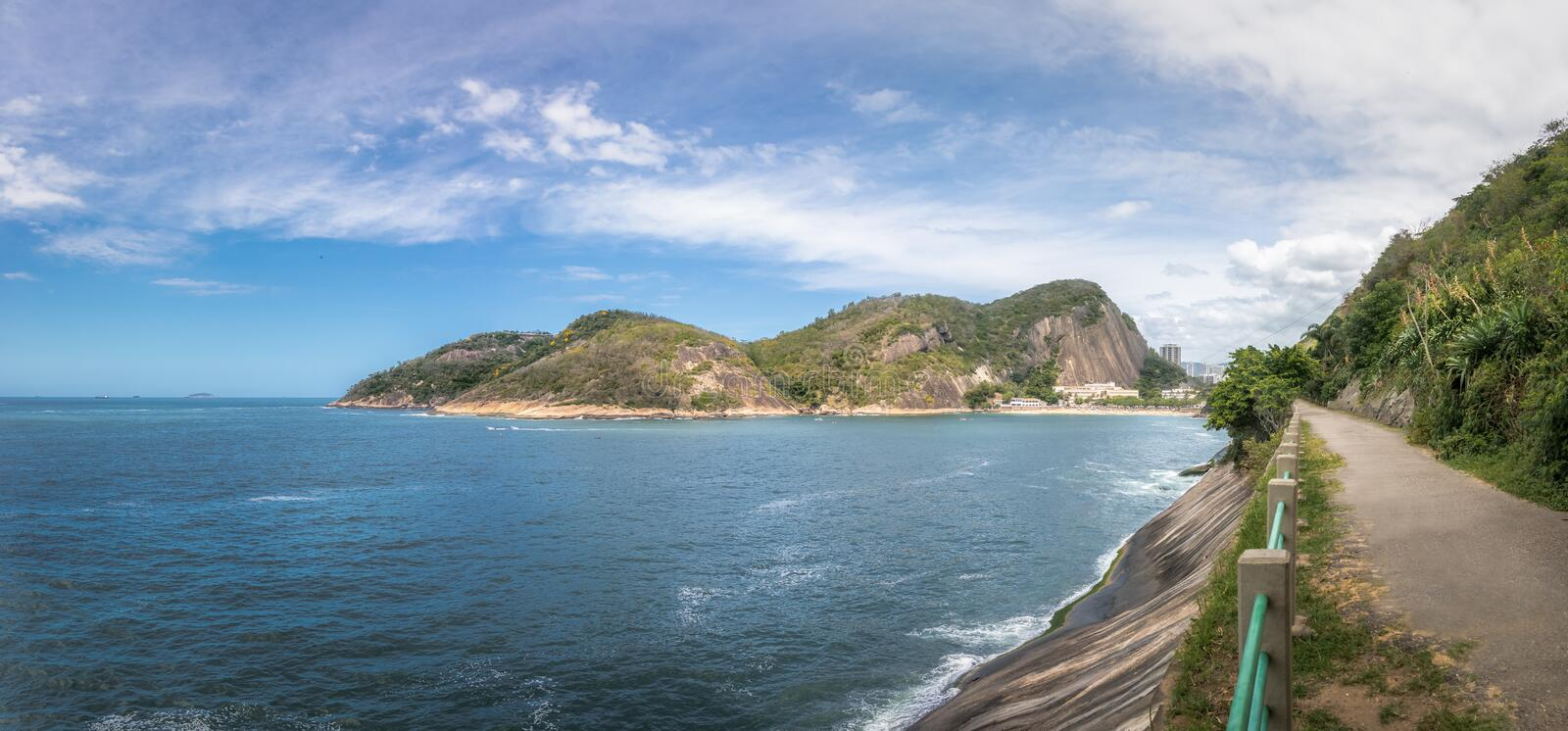 Panoramic view of Urca mountain trail, Praia Vermelha Beach and Guanabara Bay - Rio de Janeiro, Brazil. Panoramic view of Urca mountain trail, Praia Vermelha stock photo