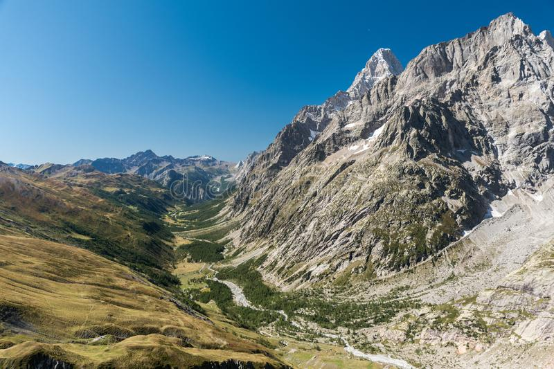 Panoramic view of Val Ferret, in the eastern rim of Mont Blanc massif royalty free stock photos