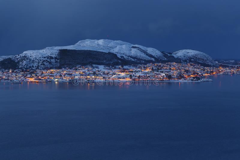 Panoramic view of the Valderoya Island by night from Aksla hill . royalty free stock image