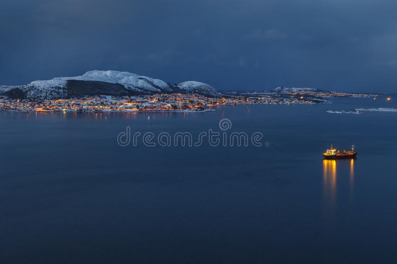 Panoramic view of the Valderoya Island by night from Aksla hill . stock photos