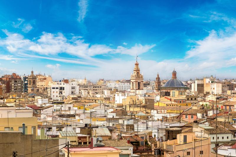 Panoramic view of Valencia royalty free stock photography