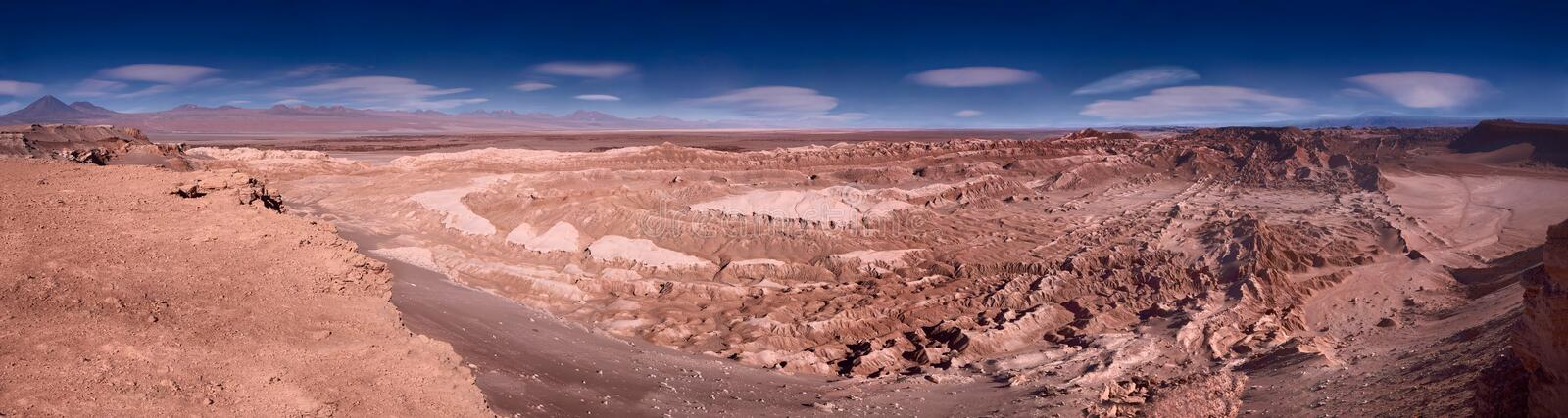 Panoramic view of the Valle de la Luna, Chile royalty free stock images