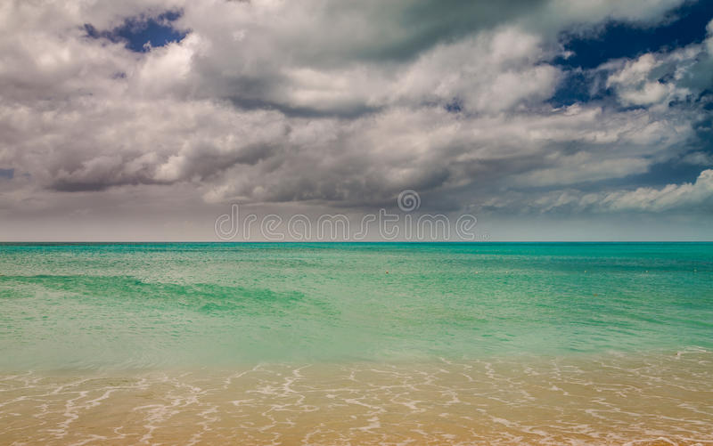Panoramic view of the Valley Church beach in Antigua and Barbudas. Landscape exposures done on this beautiful beach located on an island in the Caribbean stock image