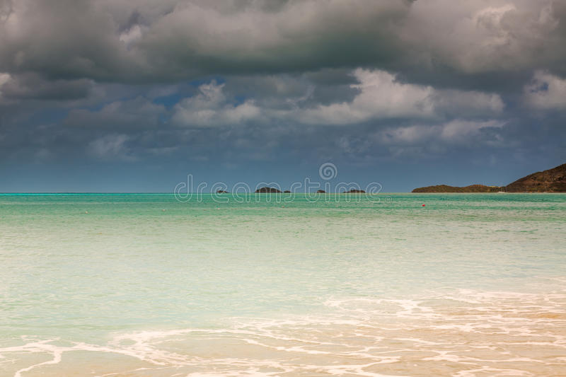 Panoramic view of the Valley Church beach in Antigua and Barbudas. Landscape exposures done on this beautiful beach located on an island in the Caribbean royalty free stock photos