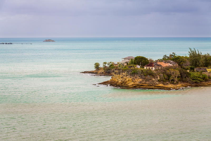 Panoramic view of the Valley Church beach in Antigua and Barbudas. Landscape exposures done on this beautiful beach located on an island in the Caribbean royalty free stock photography
