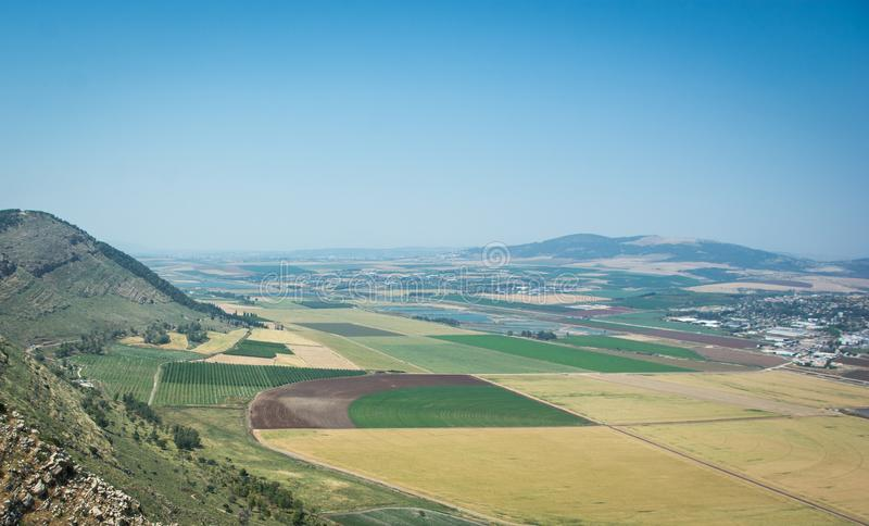 Panoramic view on the valley from mountain ridge royalty free stock photo