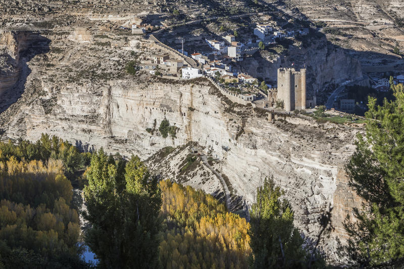 Panoramic view of the valley of the river Jucar during autumn, o. Alcala del Jucar, Spain - October 29, 2016: Panoramic view of the valley of the river Jucar stock photography