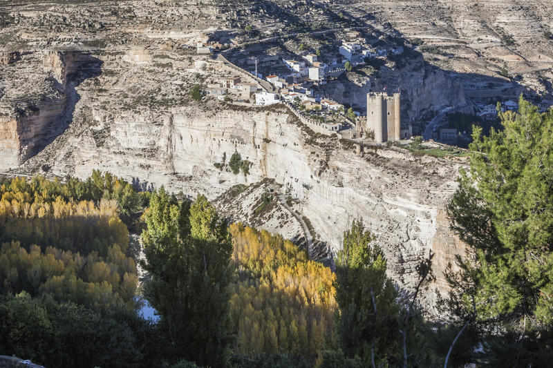 Panoramic view of the valley of the river Jucar during autumn, o. Alcala del Jucar, Spain - October 29, 2016: Panoramic view of the valley of the river Jucar stock photo