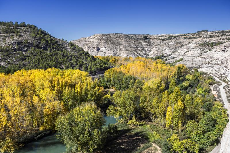Panoramic view of the valley of the river Jucar during autumn,. Take in Alcala del Jucar, Albacete province, Spain royalty free stock photos