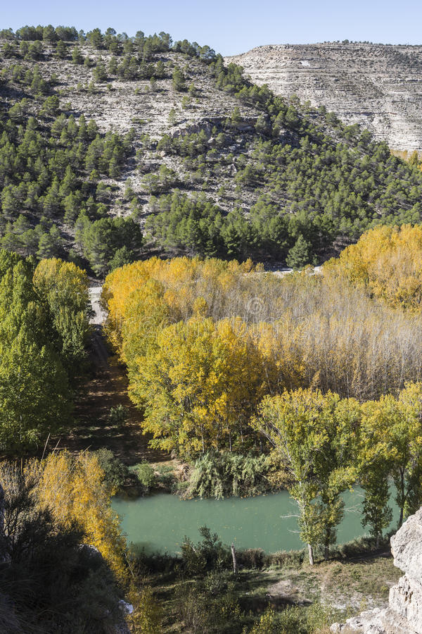 Panoramic view of the valley of the river Jucar during autumn, t. Ake in Alcala del Jucar, Albacete province, Spain stock images