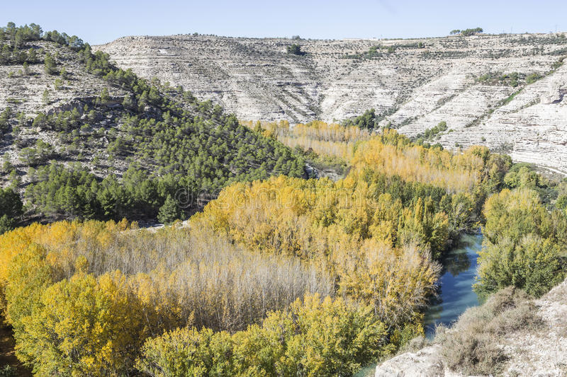 Panoramic view of the valley of the river Jucar during autumn, t. Ake in Alcala del Jucar, Albacete province, Spain stock image